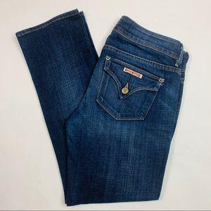 Hudson Cropped Flap Pockets Slim Blue Jeans 27x27